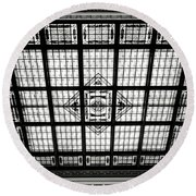 Stained Glass Hoboken Terminal Round Beach Towel