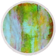 Stained Glass Houses Round Beach Towel