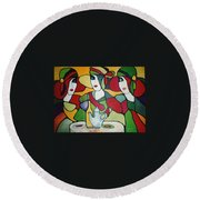 Stained Glass II Round Beach Towel