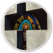 Stained Glass In A Tomb Round Beach Towel