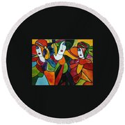 Stained Glass Iv Round Beach Towel
