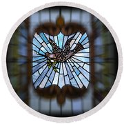 Stained Glass Lc 13 Round Beach Towel