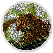 Stained Glass Leopard 2 Round Beach Towel