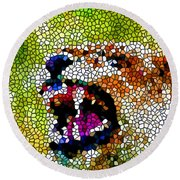 Stained Glass Leopard 3 Round Beach Towel