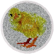 Stained Glass Little Chicken Round Beach Towel