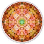 Stained Glass Mandala Round Beach Towel