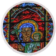 Stained Glass Of Chartres Round Beach Towel