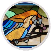 Stained Glass Parrot Window Round Beach Towel by Thomas Woolworth