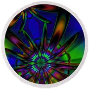 Stained Glass Passion Flowers Round Beach Towel