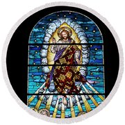 Stained Glass Pc 02 Round Beach Towel