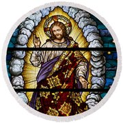 Stained Glass Pc 04 Round Beach Towel