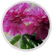 Stained Glass Peonies Round Beach Towel