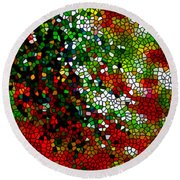 Stained Glass Pine Tree Round Beach Towel