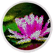 Stained Glass Pink Lotus Flower   Round Beach Towel by Lanjee Chee