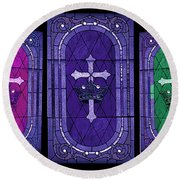 Stained Glass - Purple Round Beach Towel