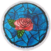Stained Glass Roses Round Beach Towel