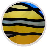 Stained Glass Scenery 3 Round Beach Towel