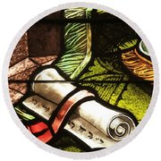 Stained Glass Scroll Round Beach Towel