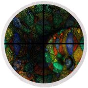 Stained Glass Spiral Round Beach Towel