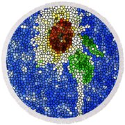 Stained Glass  Sunflower Over The Blue Sky Round Beach Towel