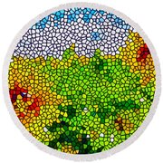 Stained Glass Sunflowers Round Beach Towel