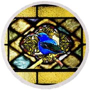 Stained Glass Template Blue Bird Of Happiness Round Beach Towel