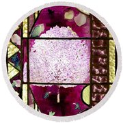 Stained Glass Template Magnolia Glory Round Beach Towel