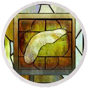 Stained Glass Template Maple Seedling Round Beach Towel