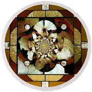 Stained Glass Template Sepia Flora Kalidescope Round Beach Towel