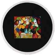 Stained Glass V Round Beach Towel