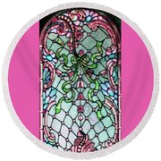 Stained Glass Window -2 Round Beach Towel