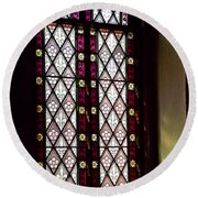 Stained Glass Window In Saint Paul's Episcopal Church-1882 In Tombstone-az Round Beach Towel