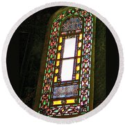 Stained Glass Window In Saint Sophia's In Istanbul-turkey  Round Beach Towel