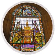 Stained Glass Window In Seville Cathedral Round Beach Towel