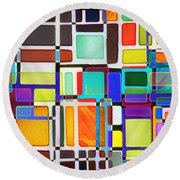 Stained Glass Window Multi-colored Abstract Round Beach Towel
