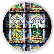 Stained Glass Window Of Santa Maria Del Fiore Church Florence Italy Round Beach Towel