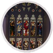 Stained Glass Window The Huntington Library Round Beach Towel