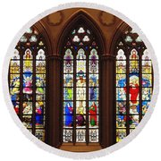 Stained Glass Windows At Saint Josephs Cathedral Buffalo New York Round Beach Towel