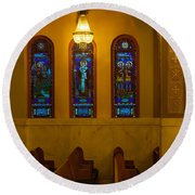 Stained Glass Windows At St Sophia Round Beach Towel