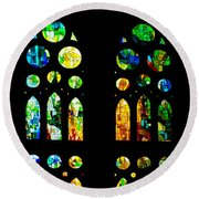 Stained Glass Windows - Sagrada Familia Barcelona Spain Round Beach Towel