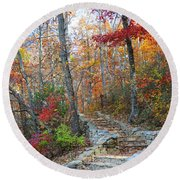 Staircase To Fall Round Beach Towel