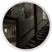 Stairs And Corridor Inside An Abandoned Asylum Round Beach Towel by Gary Heller