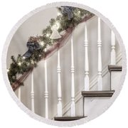 Stairs At Christmas Round Beach Towel by Margie Hurwich