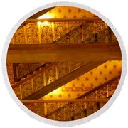 Stairs At The Brown Palace Round Beach Towel