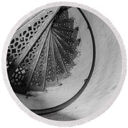 Stairs At The Fort Gratiot Light House Round Beach Towel