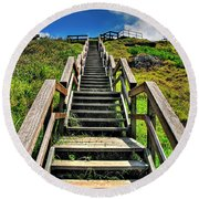 Stairs From The Beach Round Beach Towel