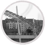 Stairs In The Sky In Black And White Round Beach Towel