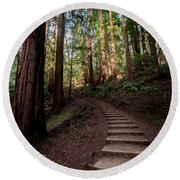 Stairs Into The Woods Round Beach Towel