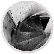Stairs Leading Downward Into The Catacombs Of Paris France Round Beach Towel