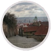 Stairs To Prague Round Beach Towel